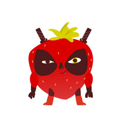 Strawberry fruit hero superhero character guard vector