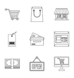 Supermarket buying icons set outline style vector image