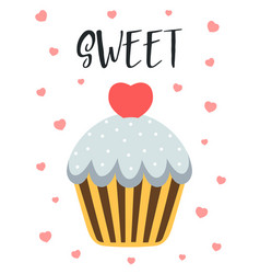 valentines card with cute cupcake vector image