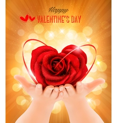 Valentines day background Hands holding heart vector image
