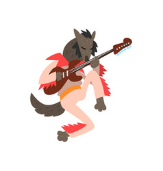 Wolf playing electric guitar cartoon animal vector