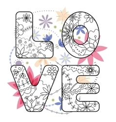 word love painted on vintage flowers vector image