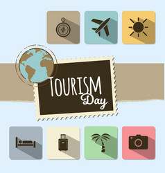 World tourism day card on blue background vector