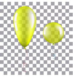 Yellow helium balloon isolated 3d vector