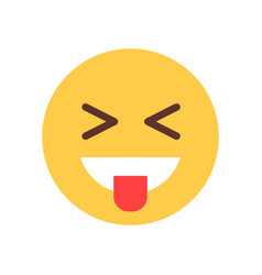 Yellow smiling cartoon face laughing emoji people vector