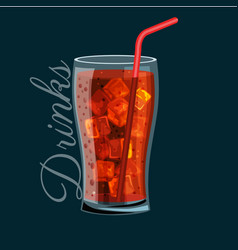 brown carbonated soft drink in a glass does not vector image