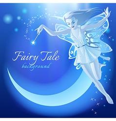 Fairy Tale blue luminous background vector image vector image