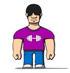 Funny cartoon strongman vector image