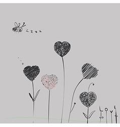 Heart-flowers vector image