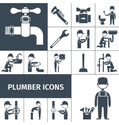 Plumber icons black vector