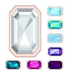 rectangle gemstone set vector image vector image