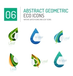 Set of abstract eco water and leaves icons vector image