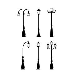 vintage streetlights black silhouettes set vector image