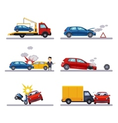 Car accidents set on white vector