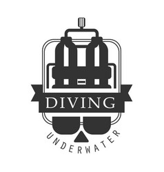 diving underwater logo black and white vector image vector image