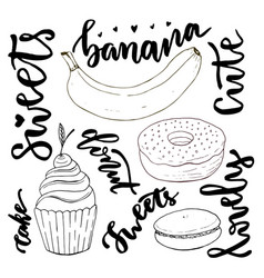hand drawn sweets doodle set sketches sweets - vector image vector image