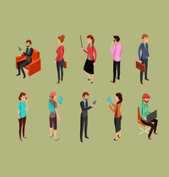 different office people sitting and standing vector image vector image