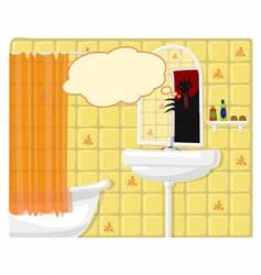 illustration of bathroom monster vector image vector image