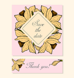 set of cards with daffodil floral motifs vector image vector image