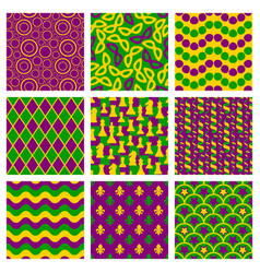 set of seamless patterns for mardi gras vector image vector image