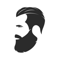 silhouette of a bearded man hipster style barber vector image