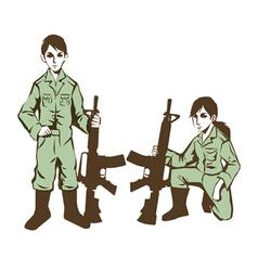 soldier kids in uniform at war vector image vector image