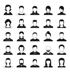avatar user icon set simple style vector image