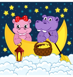 couple of hippos float on moon in clouds vector image