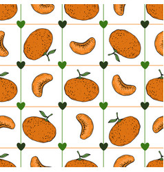 hand draw tangerine seamless pattern on white vector image