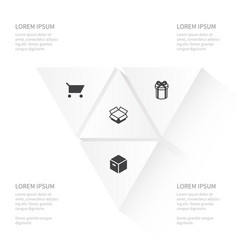 Icon store set of present parcel carton and vector