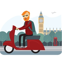 londoner on scooter vector image vector image