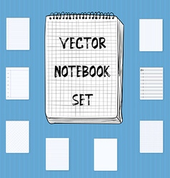 Notebook Notepad Set Include realistic hand drawn vector image