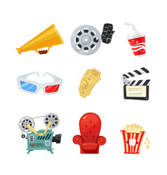 set of colored isometric cartoon cinema icons vector image