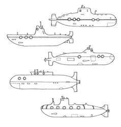 Set of submarines vector