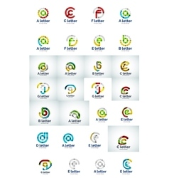 set of web letter logo icons vector image