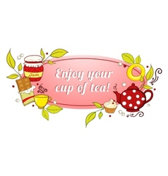 Tea and sweets label vector image vector image
