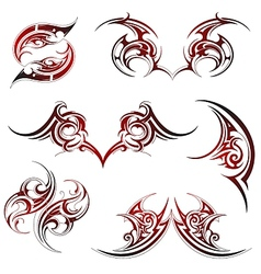 Tribal fire flame tattoo set vector image vector image