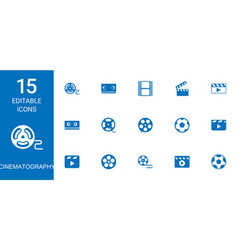 15 cinematography icons vector image