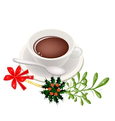 A Cup of Hot Coffee with Mistletoe Bunch vector image