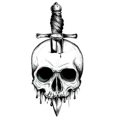 a knife through a skull simple skull face series vector image