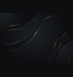 Abstract black wave shape with gold thread lines vector
