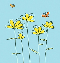 abstract yellow flowers vector image