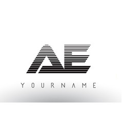 ae black and white horizontal stripes letter logo vector image