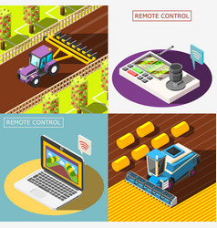 Agricultural robots 2x2 design concept vector