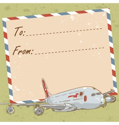 air mail travel postcard with touristic airplane vector image