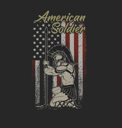 American soldier with spear patriotic vector