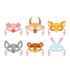 animals carnival masks set pig hen goat fox vector image