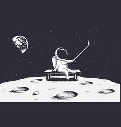 Astronaut make selfie on moon vector