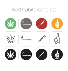 Bad habit icons set vector image