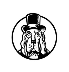 Basset hound wearing monocle and top hat circle vector